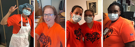 Five Providence Living staff members wearing orange shirts