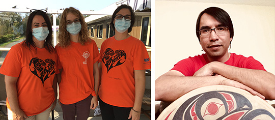 Three Providence Living staff members wearing orange shirts (left). Artist Timothy Foster (right).