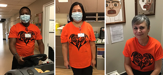 Three Providence Living staff members wearing orange shirts