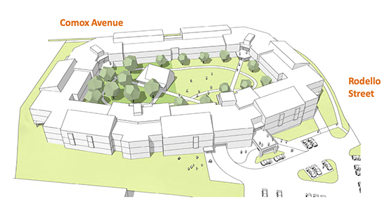 Comox village drawing arial view of building with courtyard in the middle; Comox Avenue to the north and Rodello Street to the east