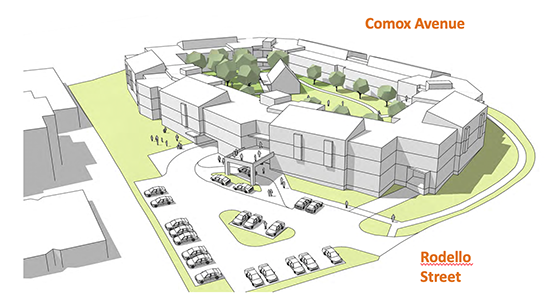 Comox village drawing arial view of building with parking lot in front, courtyard in the middle; ; Comox Avenue to the north and Rodello Street to the east